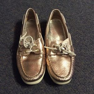 Sperry Metallic Pink Leather Top Siders 8.5